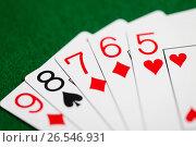 Купить «poker hand of playing cards on green casino cloth», фото № 26546931, снято 15 марта 2017 г. (c) Syda Productions / Фотобанк Лори