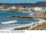 Купить «Краснодарский край, Туапсе, городской пляж», фото № 26547651, снято 16 октября 2018 г. (c) glokaya_kuzdra / Фотобанк Лори