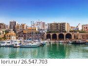 Старый Венецианский порт и здание арсенала в Ираклионе, Крит, Греция, фото № 26547703, снято 5 июня 2017 г. (c) Наталья Волкова / Фотобанк Лори
