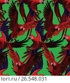 Seamless pattern with red macaws flying. Hand drawn vector. Стоковая иллюстрация, иллюстратор Irene Shumay / Фотобанк Лори