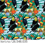 Seamless pattern with toucans and flowers. Hand drawn vector. Стоковая иллюстрация, иллюстратор Irene Shumay / Фотобанк Лори