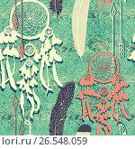 Seamless pattern with dream catchers. Hand drawn vector. Стоковая иллюстрация, иллюстратор Irene Shumay / Фотобанк Лори