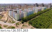 Купить «Aerial view of new residential area in the russian city - Voronezh. Russia. 4K», видеоролик № 26551263, снято 12 июня 2017 г. (c) ActionStore / Фотобанк Лори