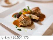 Купить «Ravioli in sauce dish», фото № 26554175, снято 12 декабря 2016 г. (c) Яков Филимонов / Фотобанк Лори