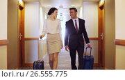 Купить «business team with travel bags at hotel corridor», видеоролик № 26555775, снято 25 июня 2019 г. (c) Syda Productions / Фотобанк Лори