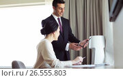 Купить «business team with papers and tablet pc at hotel», видеоролик № 26555803, снято 27 мая 2017 г. (c) Syda Productions / Фотобанк Лори