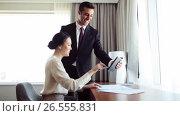 Купить «business team with papers and tablet pc at hotel», видеоролик № 26555831, снято 27 мая 2017 г. (c) Syda Productions / Фотобанк Лори