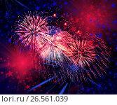 Купить «Beautiful fireworks in a night sky», фото № 26561039, снято 8 августа 2015 г. (c) ElenArt / Фотобанк Лори