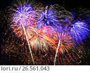 Купить «Beautiful fireworks in a night sky», фото № 26561043, снято 13 августа 2016 г. (c) ElenArt / Фотобанк Лори