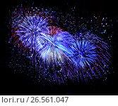 Купить «Beautiful fireworks in a night sky», фото № 26561047, снято 8 августа 2015 г. (c) ElenArt / Фотобанк Лори