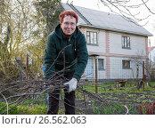 Купить «Пожилая женщина собирает с земли обрезанные ветки дерева», эксклюзивное фото № 26562063, снято 25 апреля 2017 г. (c) Вячеслав Палес / Фотобанк Лори