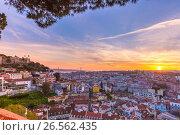 Historical centre of Lisbon at sunset, Portugal (2017 год). Стоковое фото, фотограф Коваленкова Ольга / Фотобанк Лори