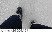 Купить «Человек едет на роликовых коньках по асфальту, крупный план сверху», видеоролик № 26566139, снято 21 июня 2017 г. (c) Кекяляйнен Андрей / Фотобанк Лори