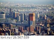 Купить «View of manhattan and brooklyn bridges with brooklyn beyond New York City USA.», фото № 26567039, снято 2 мая 2017 г. (c) age Fotostock / Фотобанк Лори