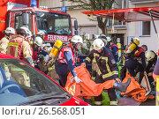 Купить «Firefighters getting ready to intervene on chemical accident location», фото № 26568051, снято 19 сентября 2016 г. (c) Matej Kastelic / Фотобанк Лори