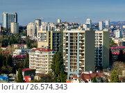 Купить «Сочи, вид сверху на городскую застройку в Центральном районе», фото № 26574343, снято 25 августа 2019 г. (c) glokaya_kuzdra / Фотобанк Лори