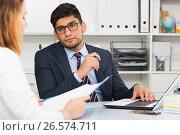 Купить «Businessman talking to colleague», фото № 26574711, снято 1 июня 2017 г. (c) Яков Филимонов / Фотобанк Лори