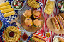 Hot dogs and burgers on wooden table with 4th july theme, фото № 26576927, снято 10 февраля 2017 г. (c) Wavebreak Media / Фотобанк Лори