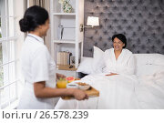 Купить «Side view of nurse serving breakfast to patient resting on bed at home», фото № 26578239, снято 15 марта 2017 г. (c) Wavebreak Media / Фотобанк Лори