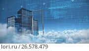 Купить «Composite image of blue data and matrix», иллюстрация № 26578479 (c) Wavebreak Media / Фотобанк Лори