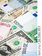 Купить «Доллары и евро», фото № 26580951, снято 10 декабря 2011 г. (c) Александр Гаценко / Фотобанк Лори