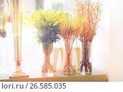 Купить «close up of flowers in vases at flower shop», фото № 26585035, снято 27 марта 2016 г. (c) Syda Productions / Фотобанк Лори