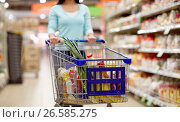 Купить «woman with food in shopping cart at supermarket», фото № 26585275, снято 2 ноября 2016 г. (c) Syda Productions / Фотобанк Лори