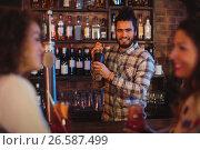 Купить «Bartender mixing a cocktail drink in cocktail shaker», фото № 26587499, снято 14 ноября 2016 г. (c) Wavebreak Media / Фотобанк Лори