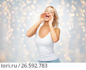 Купить «happy young woman shouting or calling someone», фото № 26592783, снято 20 апреля 2017 г. (c) Syda Productions / Фотобанк Лори