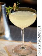 Купить «glass of cocktail at bar», фото № 26592851, снято 7 февраля 2017 г. (c) Syda Productions / Фотобанк Лори