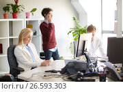 Купить «business team with smartphones at office», фото № 26593303, снято 1 октября 2016 г. (c) Syda Productions / Фотобанк Лори