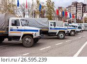 Купить «Russian police patrol vehicles parked on the Kuibyshev square in spring day», фото № 26595239, снято 20 мая 2016 г. (c) FotograFF / Фотобанк Лори