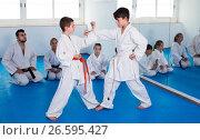 Купить «Friendly cheerful boys training in pair», фото № 26595427, снято 25 марта 2017 г. (c) Яков Филимонов / Фотобанк Лори
