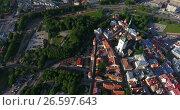 Купить «Башня Олафа в средневековой части города, полет над крепостью. Таллин, Эстония», видеоролик № 26597643, снято 29 июня 2017 г. (c) Кекяляйнен Андрей / Фотобанк Лори