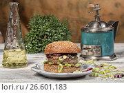 Купить «Burger With Vegetables», фото № 26601183, снято 22 марта 2017 г. (c) Андрей Скат / Фотобанк Лори