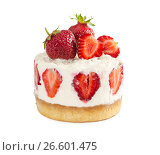 Купить «Delicious cheesecake with fresh strawberries», фото № 26601475, снято 21 июня 2017 г. (c) Наталия Пыжова / Фотобанк Лори