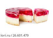Купить «Cheesecake with raspberry jelly», фото № 26601479, снято 6 июня 2017 г. (c) Наталия Пыжова / Фотобанк Лори