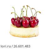 Купить «Cheesecake with fresh sweet cherries», фото № 26601483, снято 6 июня 2017 г. (c) Наталия Пыжова / Фотобанк Лори