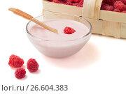 Купить «Малиновый йогурт в прозрачной посуде с деревянной ложкой и ягодами в корзине», фото № 26604383, снято 20 июня 2019 г. (c) Скляров Роман / Фотобанк Лори