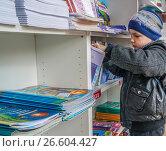Купить «Книжный фестиваль «Красная площадь» прошел в центре Москвы с 3 по 6 июня 2017 года. Мальчик смотрит детские книги», эксклюзивное фото № 26604427, снято 4 июня 2017 г. (c) Виктор Тараканов / Фотобанк Лори