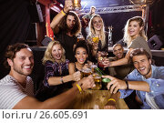 Купить «Portrait of cheerful friends toasting drink at table with performer singing on stage», фото № 26605691, снято 7 марта 2017 г. (c) Wavebreak Media / Фотобанк Лори