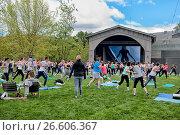 Люди занимаются фитнесом на газоне острова Новая Голландия. Санкт-Петербург (2017 год). Редакционное фото, фотограф Румянцева Наталия / Фотобанк Лори