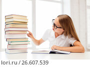 Купить «student girl in glasses with books at school», фото № 26607539, снято 7 августа 2013 г. (c) Syda Productions / Фотобанк Лори