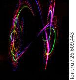 Купить «colorful light luminous texture on black», фото № 26609443, снято 22 марта 2014 г. (c) Tatjana Romanova / Фотобанк Лори