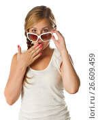 Купить «teenage girl with sunglasses surprised on white», фото № 26609459, снято 6 июля 2011 г. (c) Tatjana Romanova / Фотобанк Лори