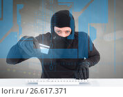 Купить «Hacker with credit card using a laptop behind digital screen», фото № 26617371, снято 17 июня 2019 г. (c) Wavebreak Media / Фотобанк Лори
