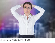 Frustrated business woman against blurry purple wall with city doodle. Стоковое фото, агентство Wavebreak Media / Фотобанк Лори