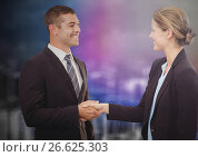 Купить «Business people shaking hands against blurry purple wall with city doodle», фото № 26625303, снято 7 июня 2020 г. (c) Wavebreak Media / Фотобанк Лори
