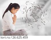 Купить «Business woman meditating against 3d blurry grey stairs with jigsaw doodle», фото № 26625459, снято 10 июля 2020 г. (c) Wavebreak Media / Фотобанк Лори