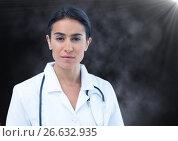 Купить «Female doctor against mist and flare», фото № 26632935, снято 2 апреля 2020 г. (c) Wavebreak Media / Фотобанк Лори